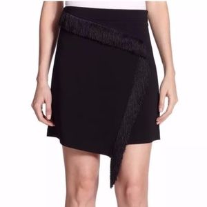 A.L.C. Black Embellished Fringe Mini Skirt